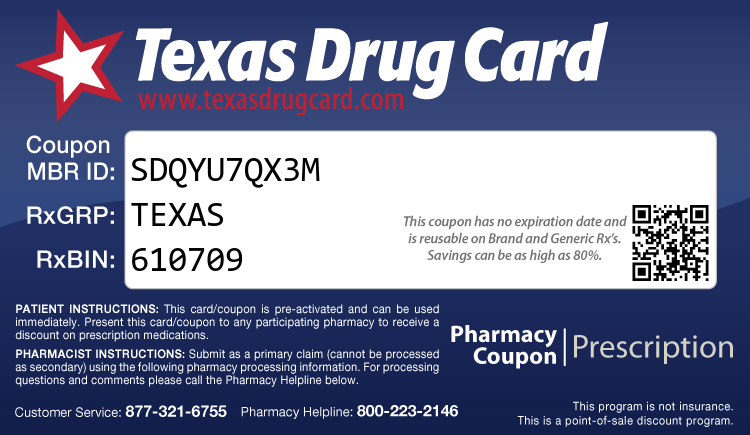 Texas Drug Card - Free Prescription Drug Coupon Card
